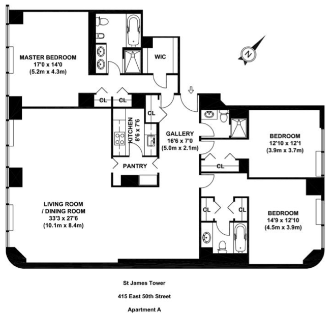 Floorplans A B C D  Request 3 Bedroom Showing. 415 East 54th Street rentals   St  James Tower   Apartments for