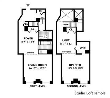 666 greenwich street rentals the archive apartments for Studio loft apartment floor plans