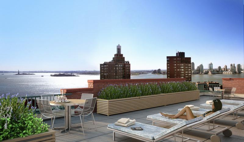 Rooftop Deck- 225 Rector place- condo for rent in NYC