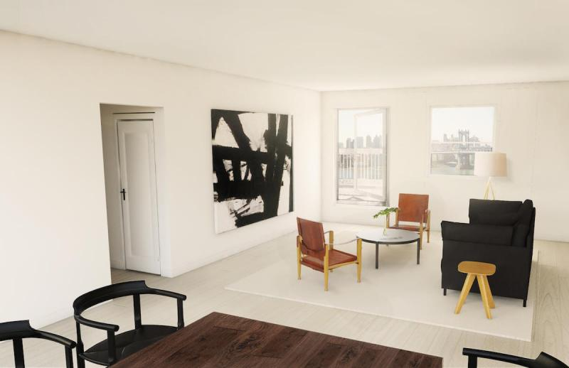 Living Room at 275 South Street in Manhattan - Condos for rent