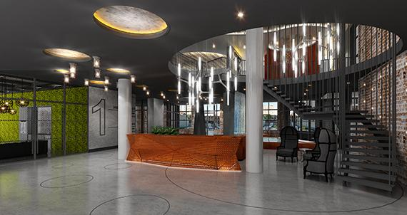 The Building's lobby at The Halo in Long Island City