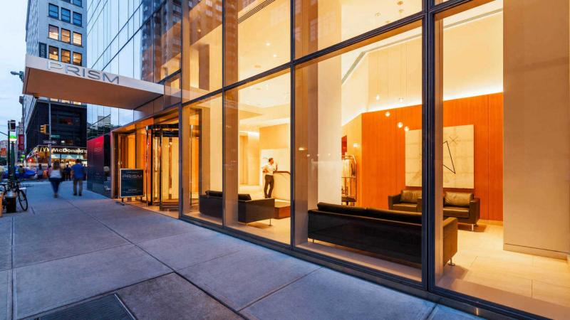 The building's entry at Prism at Park Avenue South in Nomad