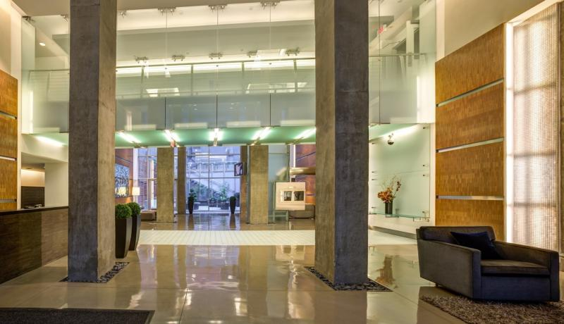 The building's lobby at 88 Leonard Street in NYC