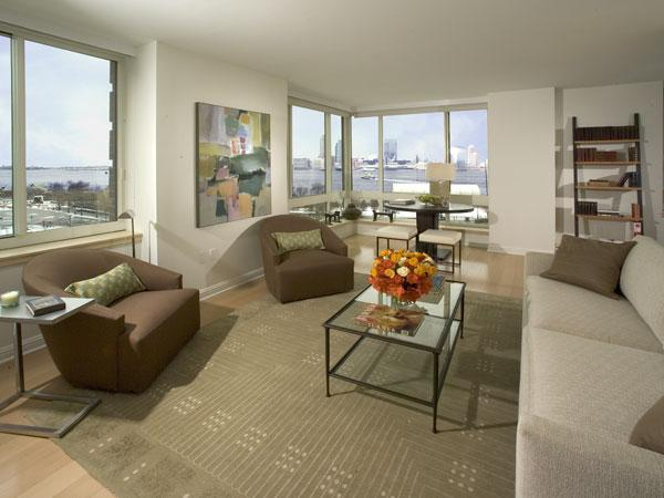 211 North End Avenue Living Room - Battery Park City Rental Apartments
