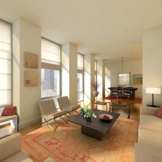 Sky House living room - Manhattan Condominiums for Sale
