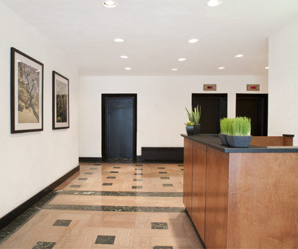 The Building's lobby at 253 West 72nd Street in NYC