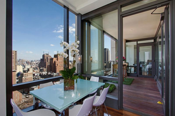 Views Of The Balcony And Tribeca Skyline From A 101 Warren Street Luxury  Apartment.