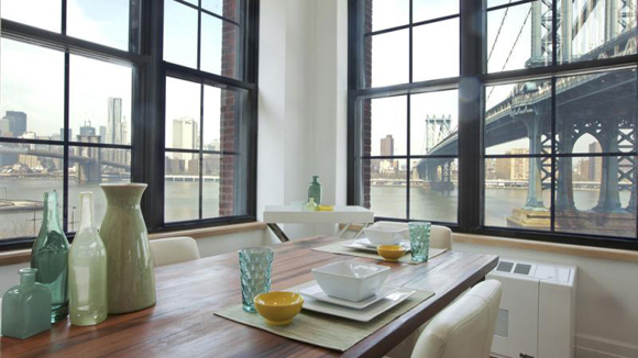 Gair 2 at 25 Washington Street in Dumbo, Brooklyn, has a kitchen with a great view of Brooklyn Bridge