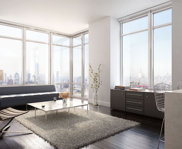 Wide views of Brooklyn as seen from a 388 Bridge Street luxury apartment rental