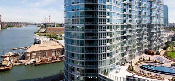 View of 45-45 Center Boulevard luxury amenities and waterfront location in Long Island City.