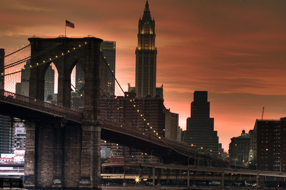 Brooklyn Bridge to Manhattan at Sunset