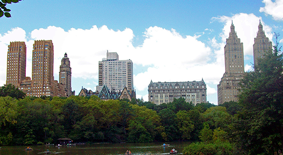 View from Central Park facing two twin-tower building designs