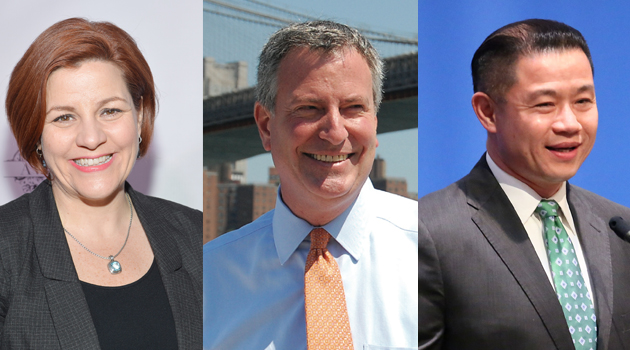 Christine Quinn, Bill de Blasio and John Liu