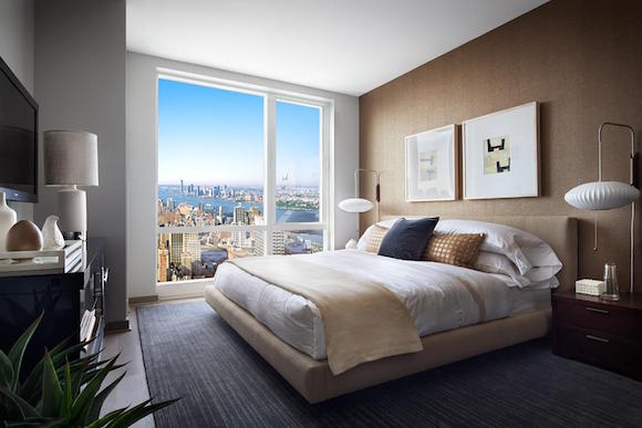 A bedroom at 1214 Fifth Avenue luxury apartment rentals in Manhattan.