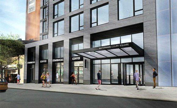 Rendering of the entrance at Watermark, a new development in Long Island City.