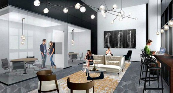 Rendering of an office at the Watermark in Long Island City.