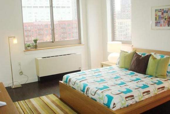 A bedroom at The Hub, a luxury apartment building in Harlem