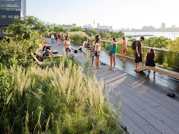 People relaxing at The High Line in Chelsea