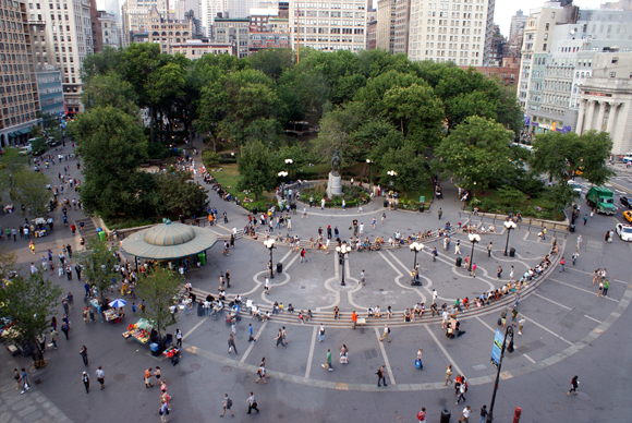 Aerial view of Union Square Park in Greenwich Village, Manhattan