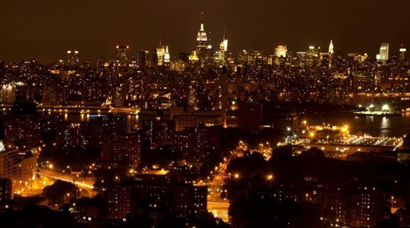 View from a luxury rental at DKLB BKLYN at night.