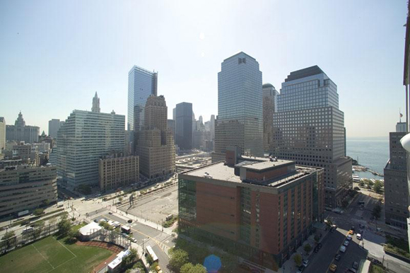 View of Battery Park City's waterfront from the Verdesian luxury rental apartments.