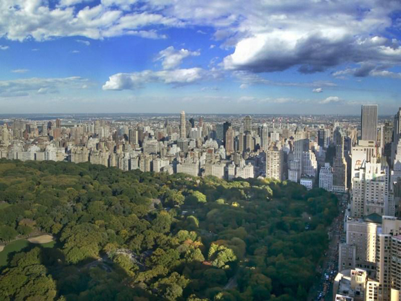 View of Manhattan's Central Park from Time Warner Center luxury apartments.